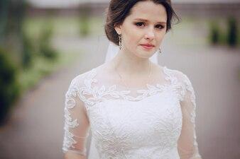 Close-up of brunette bride