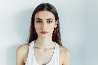 Close-up of brunette teenager