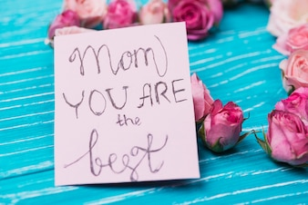 Close-up of card with cute message for mother's day