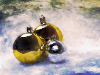 Close-up of christmas balls painted