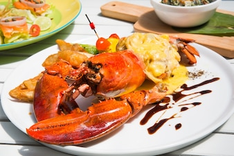 Close-up of delicious lobster
