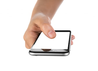 Close-up of finger on mobile's screen