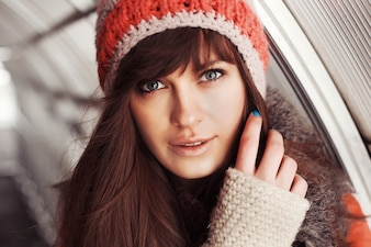 Close-up of girl posing in cold weather