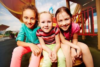 Close-up of girls enjoying their free time