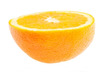 Close-up of half orange on white background
