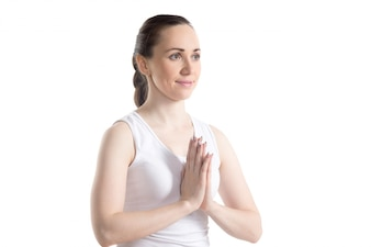 Close-up of happy woman meditating