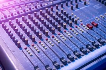 Close-up of music mixer