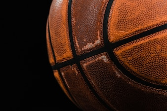 Close-up of old basketball ball