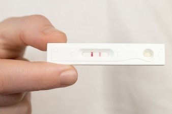 Close-up of pregnancy test