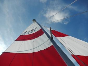 Close-up of ship's sails
