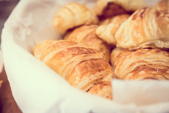 Close-up of tasty croissants