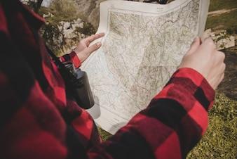 クローズアップ、旅行者、地図
