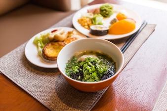 野菜スープのクローズアップ