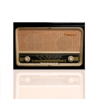 Close-up of vintage radio