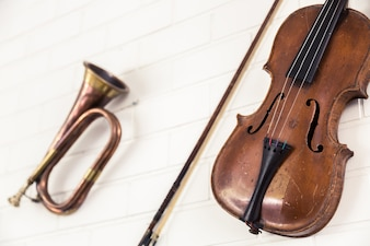 Close-up of violin and trumpet