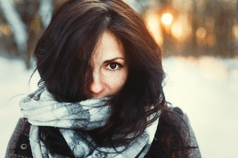 Close-up of woman dressed for cold weather