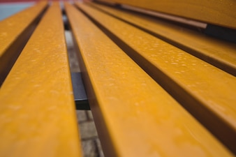Close-up of wooden strips on bench