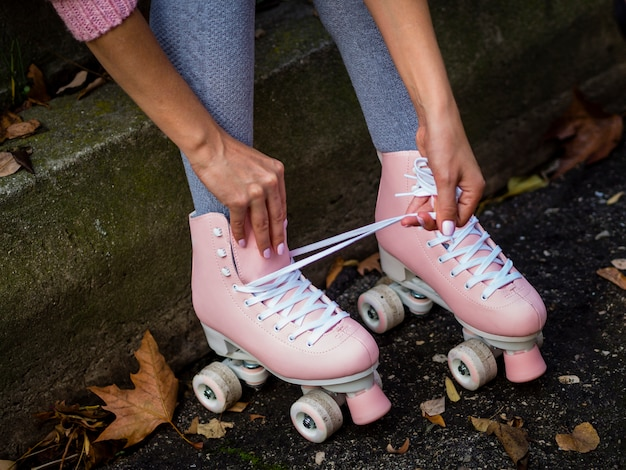 Close-up of roller skates and shoelaces