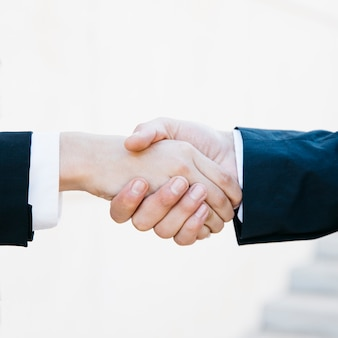 Close up view of business handshake