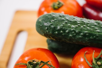 Close up view of cucumber and tomatoes
