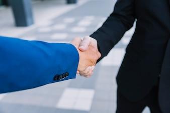 Close up view of handshake