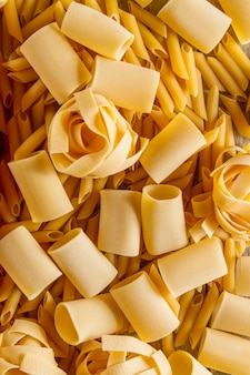 Close-up with variety of pasta