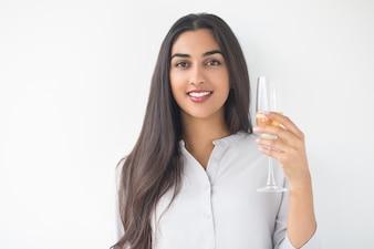 Closeup of Happy Nice Lady Raising Glass of Wine