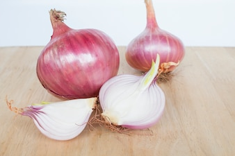 Closeup of Shallots on white background