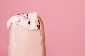 Closeup of tasty melting beautiful ice cream. Horizontal. Feminine, Food Concept.