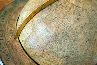 Closeup of vintage globe