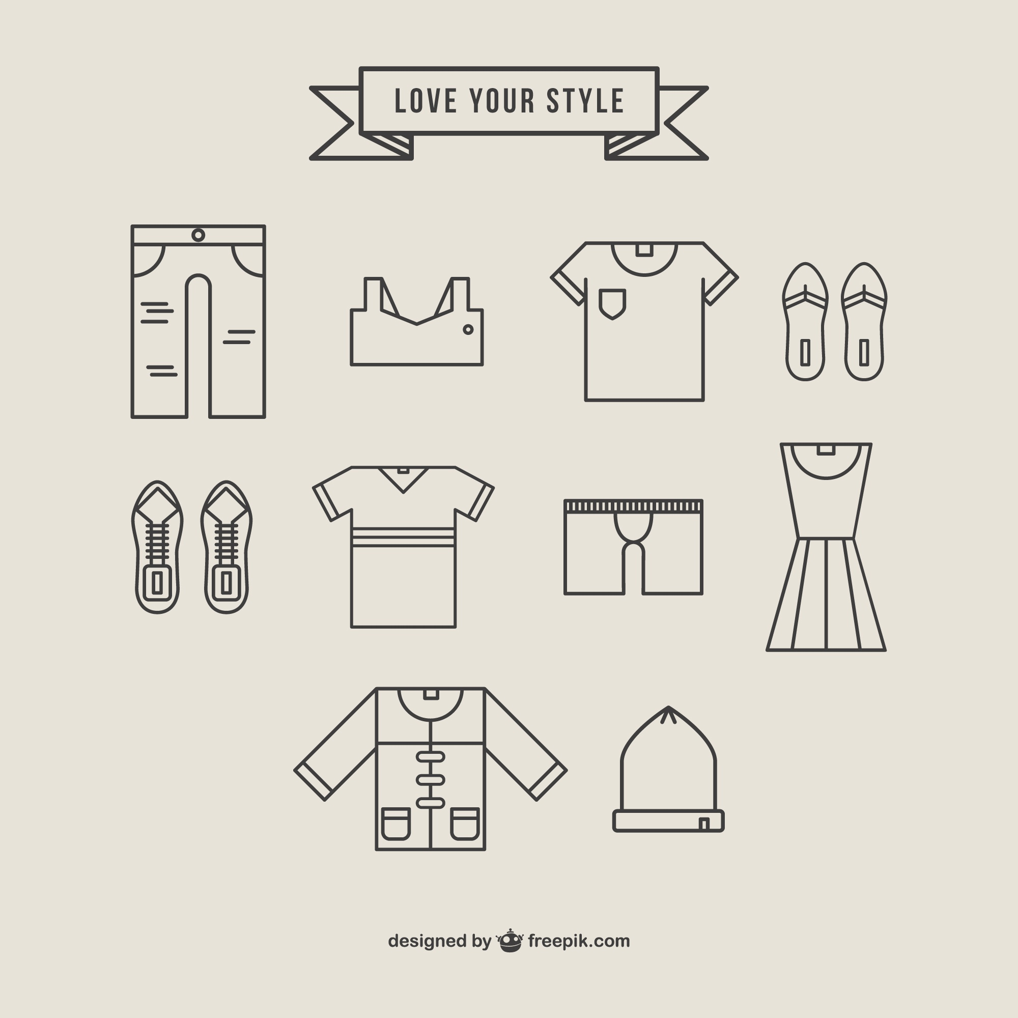 Clothing icons linear style