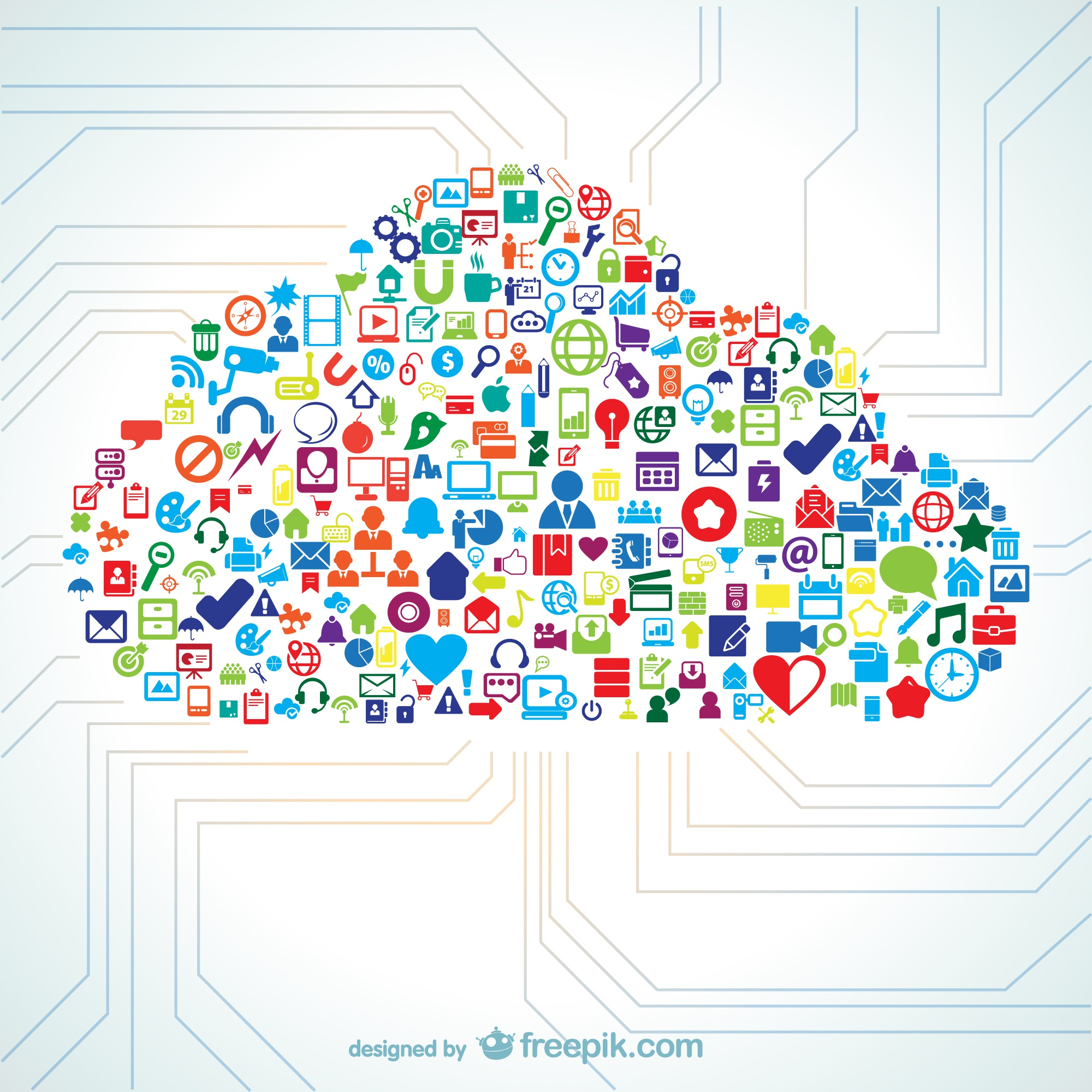 Cloud shape filled with icon vectors