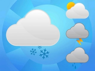 Cloud shaped weather forecast icons