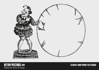 Clown and Hoop word / text board