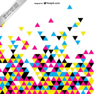 Cmyk abstract background with colorful triangles