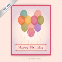 CMYK Birthday card with balloons