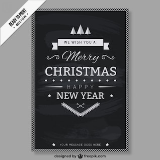 CMYK Black and white Christmas card