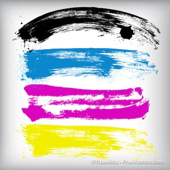 cmyk brush stroke banners vector set