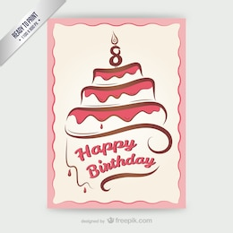 CMYK Happy Birthday card with cake