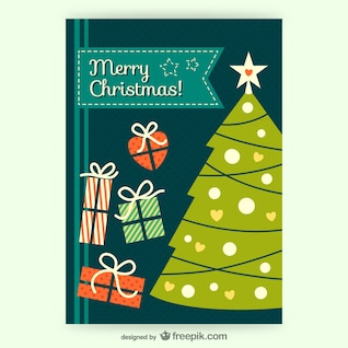 CMYK Vintage Christmas card vector