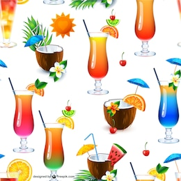 Cocktail drinks seamless pattern