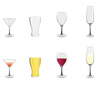 Cocktail wine beer glasses vector icons