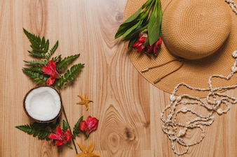 Coconut, plants, hat, necklace