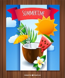 Coconut summer drink vector
