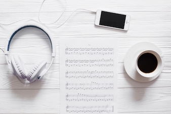Coffee and music objects
