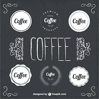 Coffee badges blackboard style