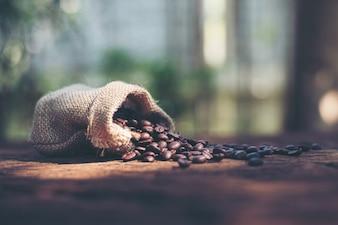 Coffee bean black burlap sack