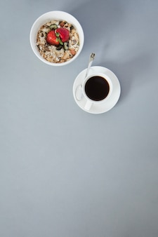 Coffee cup and cereal