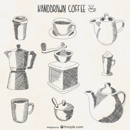 Coffee elements drawings