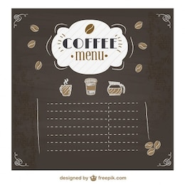 Coffee menu chalkboard design